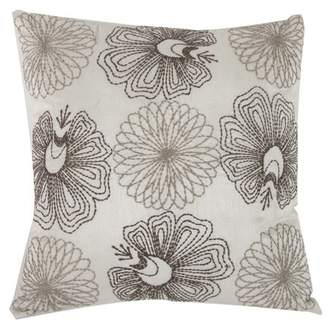 A&B Home Posie Poly Silk Embroidered Throw Pillow, Cream, 18 by 18-Inch