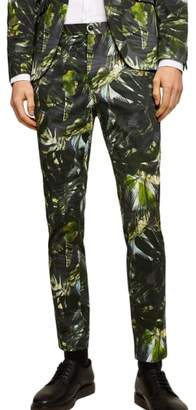 Topman Palm Print Ultra Skinny Smart Pants