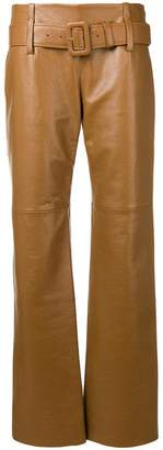 Prada belted leather trousers