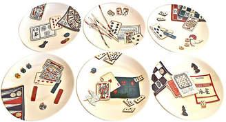 One Kings Lane Vintage Gien France Gaming Plates - Set of 6