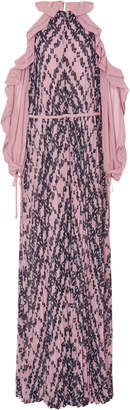 Self-Portrait Self Portrait Cold-Shoulder Printed Chiffon Maxi Dress
