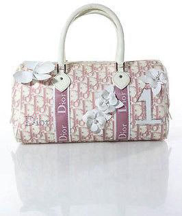 Christian Dior Christian Dior Pink Ivory Monogram Canvas Flower Applique Doctor Satchel Handbag