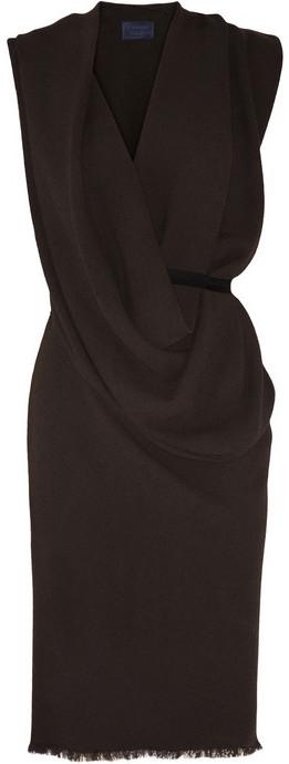 Lanvin Draped woven crepe dress