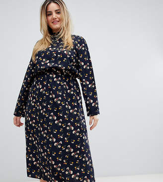 Yumi Plus Long Sleeve Floral Midi Dress