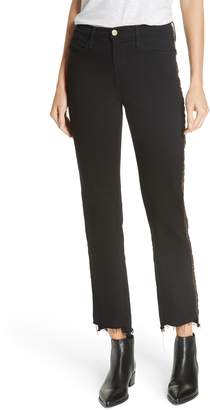 Frame Le High Glitter Side Stripe Ankle Straight Leg Jeans
