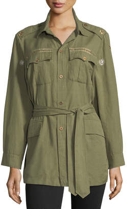 LoveShackFancy Tie-Waist Army Shirt Jacket