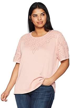 Alfred Dunner Women's Plus Size Pointelle Yoke Sweater