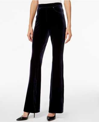 INC International Concepts Velvet Pull-On Flare-Leg Pants, Only at Macy's $79.50 thestylecure.com