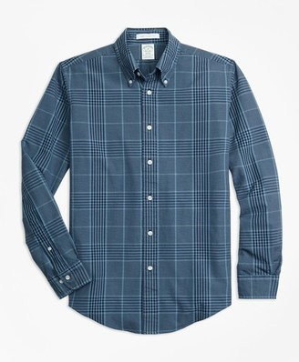 Brooks Brothers Milano Fit Indigo Glen Plaid Sport Shirt