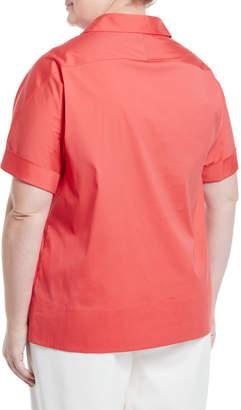 Lafayette 148 New York Plus Damon Collared Short Sleeve Blouse, Plus Size