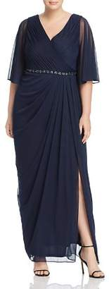 Adrianna Papell Plus Pleated Chiffon Gown