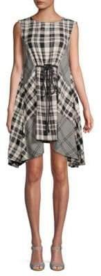 Free People Land Lines Checker Drape Dress