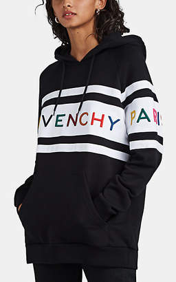 Givenchy Women's Logo-Embroidered Striped Cotton Hoodie - Black