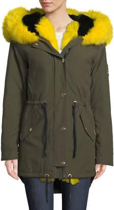 Moose Knuckles Stellar Long-Sleeve Hooded Canvas Parka Jacket w/ Fur Trim