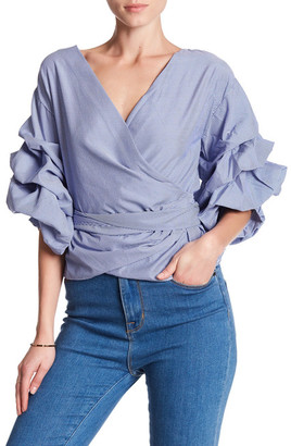 Maac London Ruffled Wrap Checkered Blouse $110 thestylecure.com