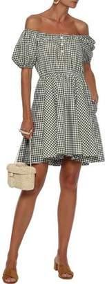 Caroline Constas Bardot Off-the-shoulder Gingham Cotton-poplin Mini Dress