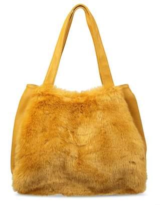 At Next Womens Oliver Bonas Yellow Karine Patchwork Faux Fur Tote Bag