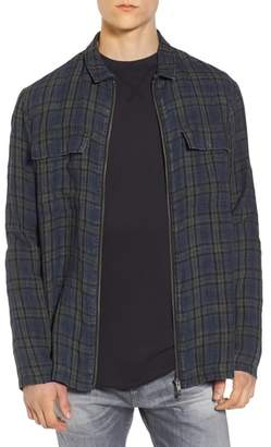 Treasure & Bond Plaid Zip Front Linen Shirt Jacket