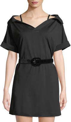 Haute Rogue Cold-Shoulder Short-Sleeve Velvet Belt Shirtdress