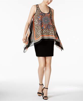 SL Fashions Printed Chiffon Popover Dress $79 thestylecure.com