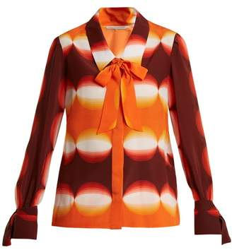 Marco De Vincenzo - Graphic Print Pussy Bow Silk Blouse - Womens - Orange Print