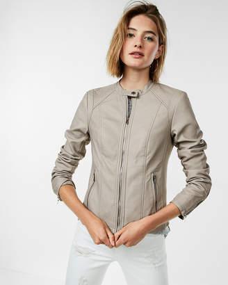Express Petite Double Peplum (Minus The) Leather Jacket