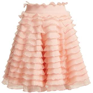 Alexander McQueen High Rise Ruffled Detailed Tiered Skirt - Womens - Light Pink