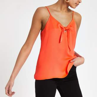 River Island Womens Bright Orange bow front cami top