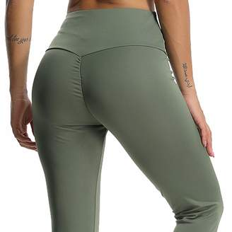 CFR 2018 New Sexy Women Ruched Fitness Leggings Butt Push Up Lifted Yoga Pants High Waist Tummy Control Workout Sport Tights Black