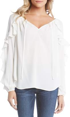 Karen Kane Tie-Neck Ruffle Sleeve Top