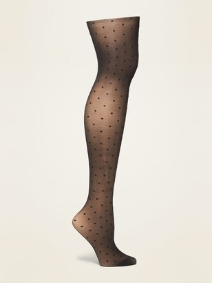 Old Navy Textured-Dots Control-Top Nylon Tights for Women