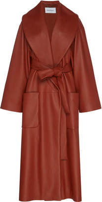 Salvatore Ferragamo Leather Belted Trench Coat