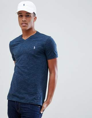 Polo Ralph Lauren V-Neck T-Shirt Polo Player In Navy Marl