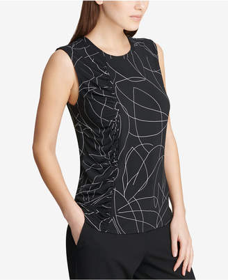 DKNY Sleeveless Side-Ruched Shell
