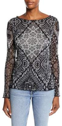 Fuzzi Stampa Crochet Sequined Top