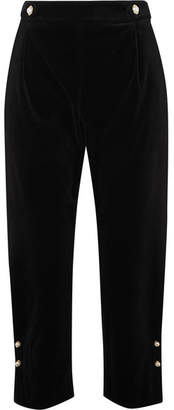 Mother of Pearl Linnie Faux Pearl-embellished Velvet Tapered Pants - Black