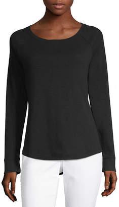 Liz Claiborne Long Sleeve Scoop Neck T-Shirt-Womens