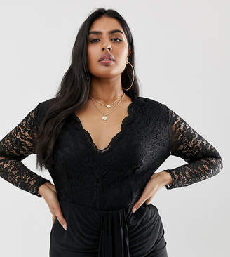 Club L London Plus Plus long sleeve lace bodysuit with lined body