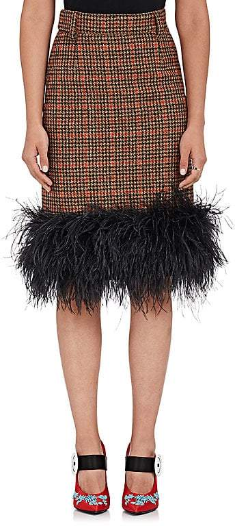 Prada Women's Feather-Trimmed Plaid Skirt