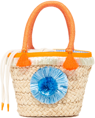 Milly Pom Pom Straw Small Tote $195 thestylecure.com