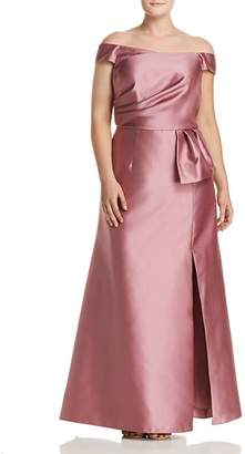 Adrianna Papell Plus Mikado Off-the-Shoulder Gown
