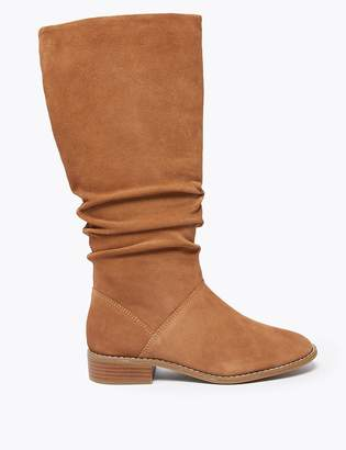 Marks and Spencer Suede Ruched Knee High Boots