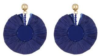 Oscar de la Renta Small Raffia Disk Earrings