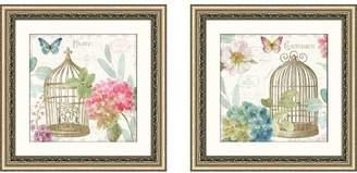 Ophelia & Co. 'Rainbow Seeds Floral Birdcage II v2' 2 Piece Framed Graphic Art Print Set