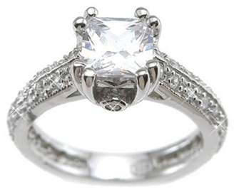 Plutus Brands CZ Sterling Silver Rhodium Finish Princess Antique-Style Engagement Ring