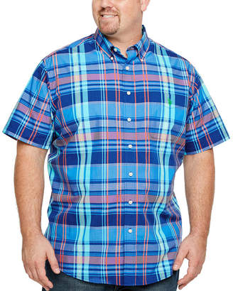 U.S. Polo Assn. USPA Mens Short Sleeve Plaid Button-Front Shirt Big and Tall