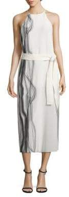 Halston Highneck Printed Silk Slip Dress