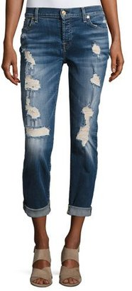 7 For All Mankind Josefina Relaxed-Fit Distressed Jeans, Blue $245 thestylecure.com