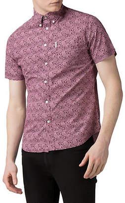 Ben Sherman Flower Power Short-Sleeve Stencil Floral Cotton Sport Shirt