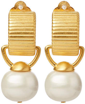 Catherine Canino Pebble Pearl Clip-On Drop Earrings